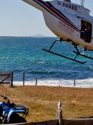 Helicopter at East End House, Robbins Island, Tasmania during Ray Martin 'A Current Affair' visit 2012.